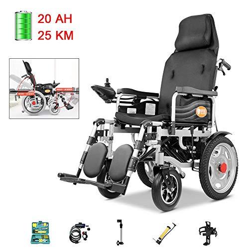 Elektrischer Rollstuhl Reisen Faltbare Und Leichtbau Einstellbare Rückenlehne Und Pedalwinkel Intelligente Automatische Bremse Power Dual-Motor (Color : C Electric Mode) -