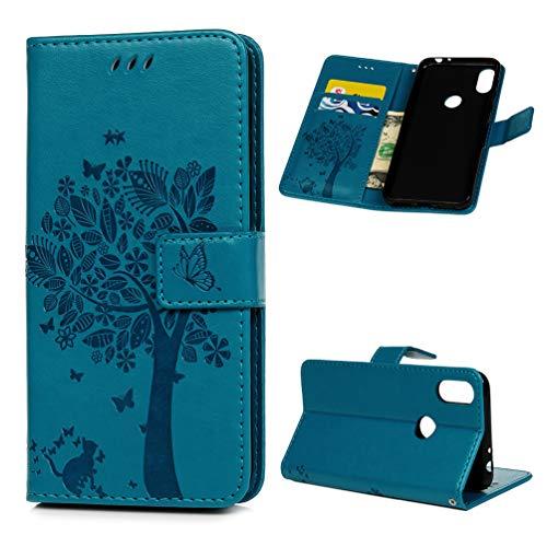 Edauto Motorola One Hülle Handyhülle Case Cover Lederhülle PU Leder Tasche Flipcase Schutzhülle Handytasche Ständer Klappbar Magnet Geldbörse Lederholster Bumper Skin Baum Blau