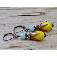 Vintage Tropfen Ohrringe mit Glasperlen - gelb, türkis / himmelblau & kupfer