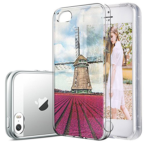 iPhone 5/5s/SE hülle vanki® Tasten Strand Schutzhülle Clear Case Cover Bumper TPU Silikon Durchsichtig Handyhülle für iPhone 5/5s/SE (color1) Windmill