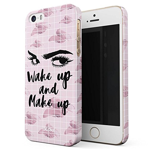 Glitbit Sleep Eat Makeup Repeat MUA Goals Addict Make Up Love Glam Glow Fab Slay Quote Sottile Guscio Resistente In Plastica Dura Custodia Protettiva Per iPhone 7 Plus / 8 Plus Case Cover Wake Up Make Up