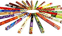 Räucherstäbchen XXL Probierset handgefertigt mit 25 unterschiedlichen Duftrichtungen in goldener Luxflair-Verpackung, indischer Räucherstäbchen Mix