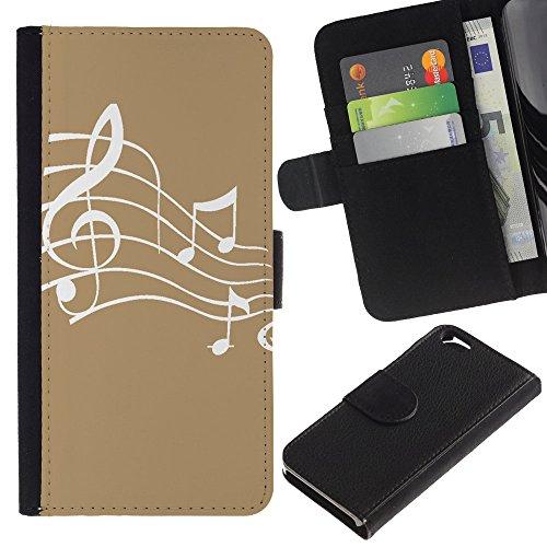 Graphic4You Musik Noten Muster Design Brieftasche Leder Hülle Case Schutzhülle für Apple iPhone 6 / 6S (Schwarz) Hellbraun