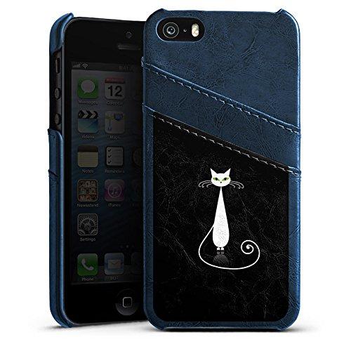 Apple iPhone 4 Housse Étui Silicone Coque Protection Chat Chat Blanc Étui en cuir bleu marine