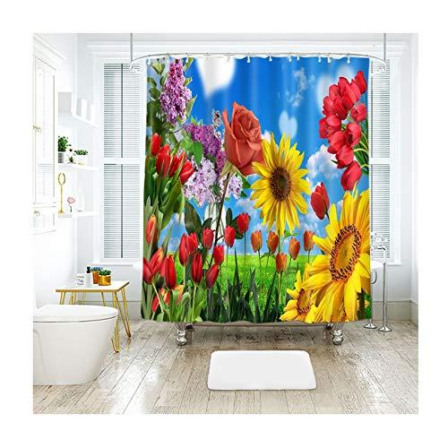 Coniea Duschvorhang Mit Ringen Blauer Himmel, Blumen Mehrfarbig Badvorhang Antischimmel 180X180Cm