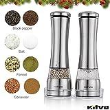 Kitva Salz-und-Pfeffer Mühle Elektrisch Pfeffermühle 2er Set, LED Edelstahl Keramikmahlwerk mit verstellbarer Feinheit , Salzmühle Gewürzmühle Silber