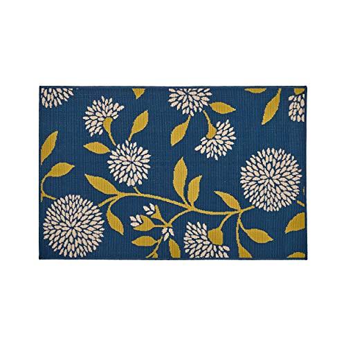 Great Deal Furniture 308528 Tilda Outdoor Teppich, Blumenmuster, 91 x 152 cm, Anemone/Grün/Blau -