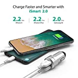 RAVPower Car Charger, 24W 4.8A Metal Dual Car Adapter for iPhone X/8/8 Plus, S9/S8/S7/S6/Edge/Plus, Note 5/4, LG, Nexus, HTC with iSmart 2.0 Tech - Silver