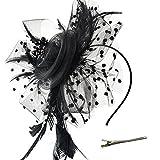 DRESHOW Fascinators Hut Blume Mesh Bänder Federn auf einem Stirnband und einem geteilten Clip Cocktail Tea Party Headwear für Mädchen und Frauen,Schwarz,Einheitsgröße