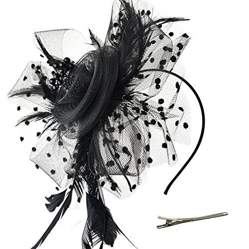 Hut Blume Mesh Bänder Federn auf einem Stirnband und einem geteilten Clip Cocktail Tea Party Headwear für Mädchen und Frauen,Schwarz,Einheitsgröße ()
