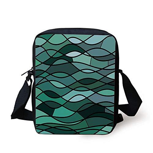 Teal,Abstract Mosaic Waves Ocean Inspired Expressionist Pattern Marine Design Image Decorative,Dark Green Aqua Print Kids Crossbody Messenger Bag Purse