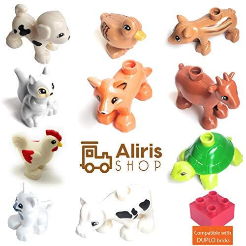 Aliris 10 Bauernhoftiere und 5 Zäune - Kompatibel mit Duplo - Haustiere Tiere und Tierbabys auf dem Bauernhof
