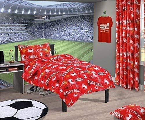 Fußball Nummern Geometrisch Rot Baumwollgemisch Doppel (Einfarbig Rot Passendes Leintuch - 137 X 191cm + 25) Einfarbig Rot Hausfrau Kopfkissenbezüge 7 Stück Schlafzimmer Set -