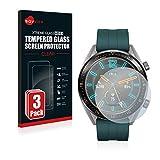 Savvies Panzerglas kompatibel mit Huawei Watch GT Active [3er Pack] - Echtglas Schutzfolie 9H