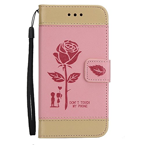 GR Premium PU Leder Flip Stand Case Cover mit Card Cash Slots und Lanyard für iPhone 6 Plus und 6s Plus ( Color : Brown ) Pink