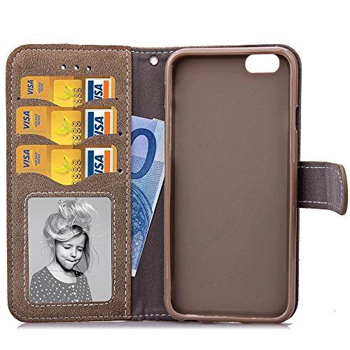 Wkae Case Cover IPhone 6s Case Cover Embossed Flowers Retro Folio haut de gamme étui en cuir PU fermeture magnétique Porte-monnaie stand style Dragonne couverture pour 6s d'Apple iPhone6 ( Color : Bro Brown
