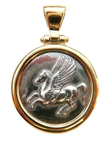 Anhänger Schmuck griechischen Pegasus silber 925 Entourage 24 K vergoldet