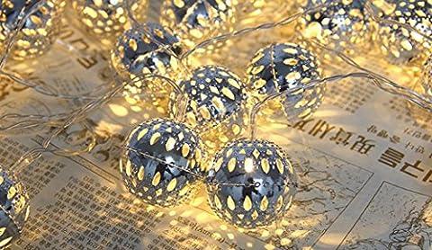 sunnymi 2.5m 20 Lampe Batterie Kugel Licht String/Warmweiß/Weihnachten WeddingXmas Party Dekor/Outdoor Fairy String Licht Lampe/Wunderbare Visuelle Effekte (Festliche Zitate Für Weihnachten)