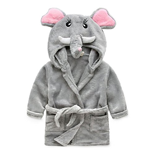 Baby Girls-cozy Fleece (OKSakady Kinder Korallen Fleece Cartoon Tier Kapuzen Bademantel Fluffy Schlaf Robe für Jungen und Mädchen)