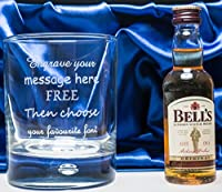 Engraved/Personalised Bubble Based Glass & Bells Whisky Miniature in Silk Gift Box For Christmas/Wedding/Birthday/Mum/Dad