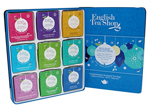 English Tea Shop - Holiday Collection Blue Tin - 72 Individually Wrapped Tea Bags - 108g (Chocolate White Peppermint)