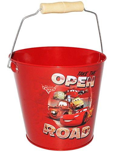 Metalleimer für Kinder / Deko Eimer -  Disney Cars - Auto Lightning McQueen  - rot - 2 Liter - großer Metall Sandeimer / Kindereimer Garteneimer / Übertopf ..