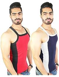 Zimfit Men's Gym Vest 112(Red_Navy)
