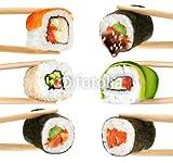 druck-shop24 Wunschmotiv: Sushi rolls isolated on white background. Chopsticks. #104985109 - Bild als Klebe-Folie - 3:2-60 x 40 cm/40 x 60 cm