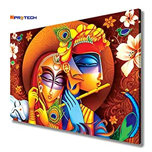 MPRO-TECH Wall Decoration Items for Living Room Eco Canvas Radha Krishna Painting for Living Room Size 36 x 24 inch (Multi Color 12)
