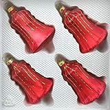 4 TLG. Glas-Glocken Set in Ice Rot Gold Regen - Christbaumkugeln - Weihnachtsschmuck-Christbaumschmuck