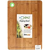 HOKIPO® LARGE & THICK Bamboo Chopping Board with Drip Groove and Finger Hole – LARGE (40 x 28 x 1.5 cm)