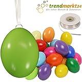 trendmarkt24 Kunststoff-Eier Bunt 6 cm ★ 25er Pack + Aufhängeösen ✓ 50m Satinband weiß ✓ Basteleier ca. 60mm groß ✓ Oster-Eier mit Loch ✓ Plastik-Eier für Oster-Deko 27021