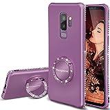 Henpone Hülle Samsung Galaxy S9+ Plus Mit Ständer Ring Glitter Schlank Diamant Thin Handyhülle Schutzhülle für Samsung Galaxy S9+ Plus (S9 Plus Lilac Purple)