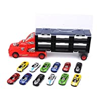 Zerodis Car Carrier Truck Toy Set Car Transporter Model Car Collection include 12 Alloy Metal Cars for Baby Boys Kids Toddler