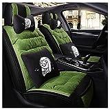 SJMLCF Autositzbezug All-Inclusive Stoff Autositzkissen Baumwolle Leinen Sitzbezug Autoabdeckung Vier Jahreszeiten Universal Season Autositzkissen Set Auto Sitzbezug-Sets (Color : Green)