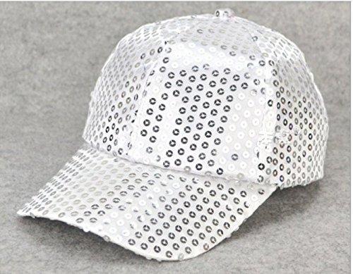 Hut-männer-baseball-cap (Glitter Pailletten Frauen Männer Baseball Caps für Dance Performance Adjustable Hüte (Weiß))