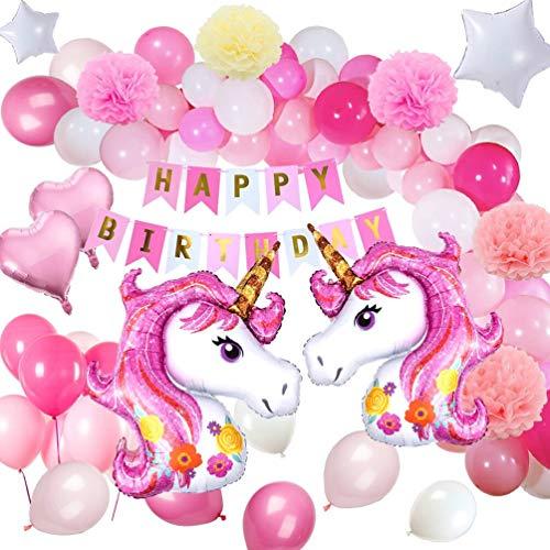 y Supplies Dekorationen mit Einhorn Ballons, Glücklich Geburtstag Banner für Mädchen Boy Kids ()