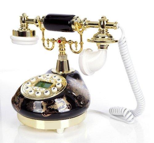 Nostalgie Telefon, Retro, antikes Design Telefon, Fernrohr Telefon, *Schwarz* mit Blumendekor