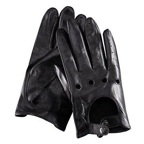 Fahrer Handschuhe Ryan Coole Herren Schwarz Braun Leder Gloves Driving Cosplay Kostüm (Kostüm Gosling Drive)