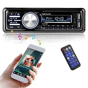 AutoRadio MATCC Radio de voiture Audio avec USB / SD Port Lecteur MP3 Récepteur Bluetooth Mains Libres Support Télécommande Voiture Bluetooth Stéréo