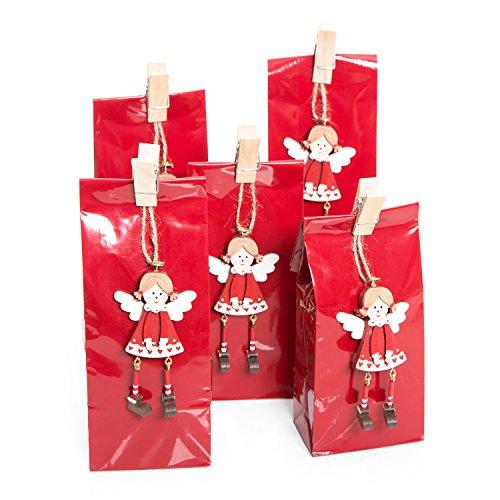 Natale confezione set di 10pezzi piccoli rossi natalizi sacchetti di carta (7x 4x 20,5cm) + 10rosso angelo bianco regalo del pendente (8,5cm) + 5mollette di legno come weihnachtliche confezione