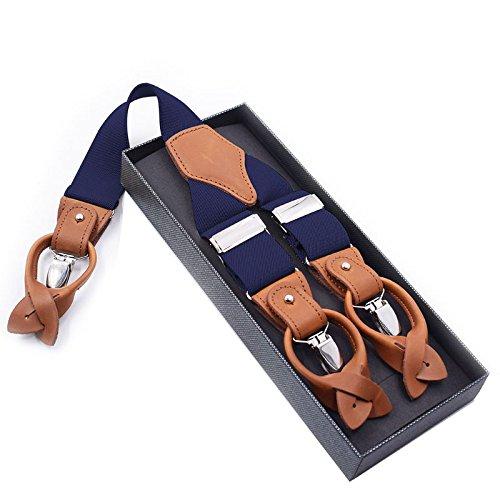 LLZGPZBD Bretelle/Bretelle per Pantaloni da Uomo Borgogna Bretelle Pelle Vintage per Uomo Pantaloni A 6 Bottoni Cinturino con Cinturino 125 Cm Blu