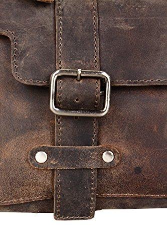 Harold's Antik Padena borsa a mano pelle 38 cm compartimenti portatile Marrone