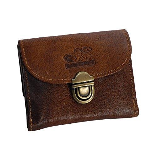 BRANCO Leder - kleine und sehr feine Mini Leder Damen Geldbörse, Portemonnaie, Ladys Wallet mit Kartenfächern - in verschiedenen Farben verfügbar - präsentiert von ZMOKA® (Tan) -