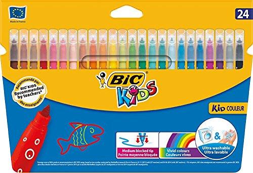 BIC Kids Kid Couleur Rotuladores Punta Media Ultralavables – Colores Surtidos, Caja de 24 Unidades
