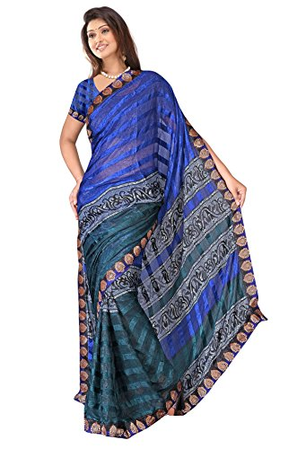 Sehgall Sarees Indian Professional Ethnic Alpheno Print with Lace Border color blue