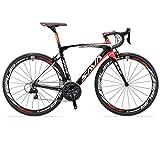 SAVADECK Carbon Rennrad, Herd 6.0 T800 Kohlefaser 700C Rennrad Shimano 105 R7000 Groupset 22 Geschwindigkeit Kohlenstoff Radsatz Sattelstütze Gabel Ultra-Licht Fahrrad (Schwarz Rot, 52cm)