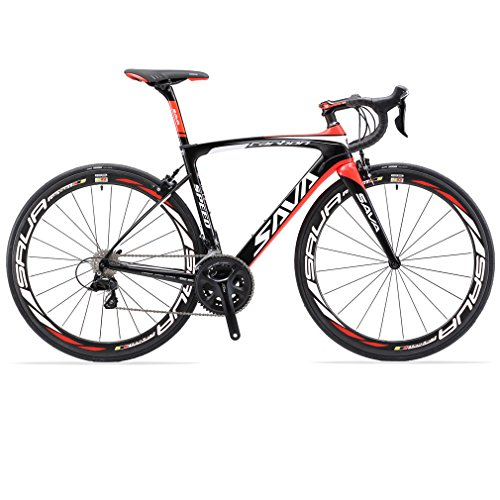 SAVADECK Carbon Rennrad, Herd 6.0 T800 Kohlefaser 700C Rennrad Shimano 105 R7000 Groupset 22 Geschwindigkeit Kohlenstoff Radsatz Sattelstütze Gabel Ultra-Licht Fahrrad (Schwarz Rot, 52cm) (52cm Rennrad)