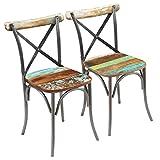 vidaXL 2X Sillas de Salón Comedor Estilo Vintage Madera Reciclada