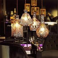 PC Bottiglia di vetro illumina Ciondolo trasparente/ Ambra retrò Ciondolo lampada 3/4 capi per Coffee House minimalismo appeso Apparecchio di illuminazione,l'opzione 3